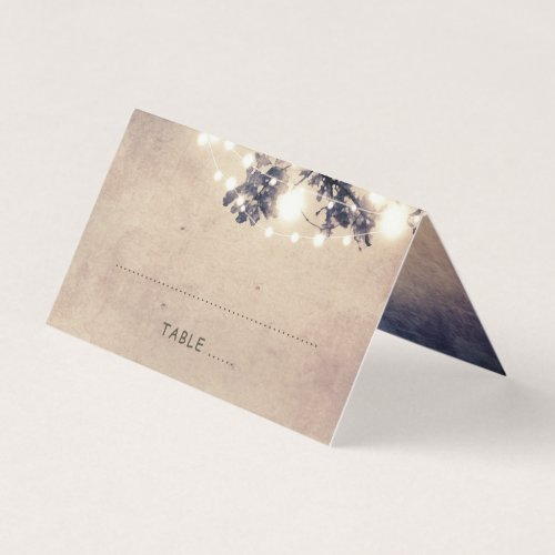 Tree Branches and String Lights Rustic Wedding Place Card