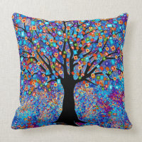 Tree of Life Colorful Square Pillow
