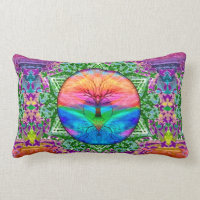 Tree of Life Rainbow Lumbar Pillow