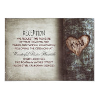 tree rustic wedding reception & driving directions card