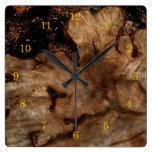 Tree Stump Square Wall Clock
