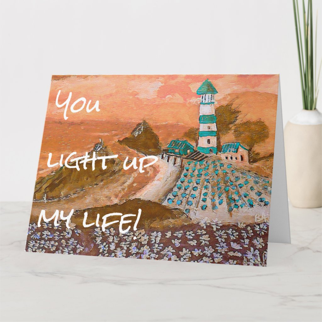 Trending Lighthouse Acrylic Painting Greeting Card