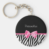 Trendy Black And White Zebra Print Pink Ribbon Basic Round Button Keychain