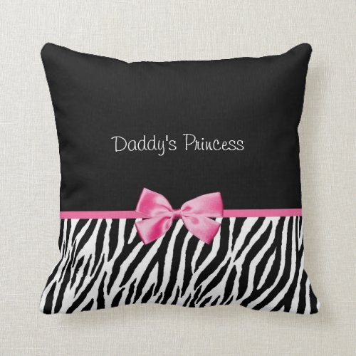 Trendy Black And White Zebra Print Pink Ribbon Throw Pillow