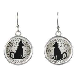 Egyptian Cat Silver Earrings