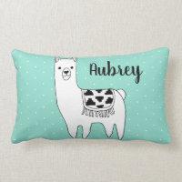 Trendy Black & White Llama & Swiss Dots in Mint Lumbar Pillow