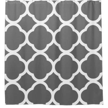 Trendy Dark Gray & White Quatrefoil Pattern Shower Curtain
