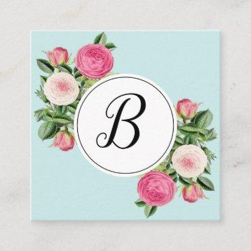 Trendy floral blue monogram rose business cards