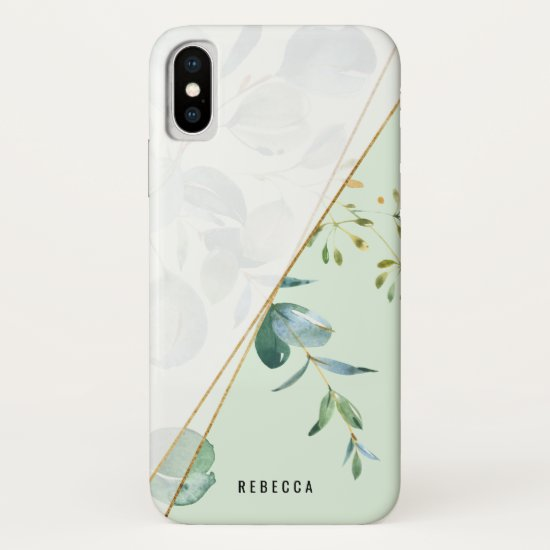 Trendy Geometric Greenery Personalized iPhone Case