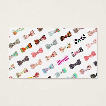 Trendy Girly  Colorful Patterns Cute Bows Business Card
