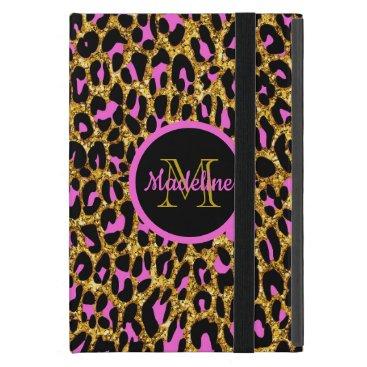 Trendy Girly Pink & Gold Glitter Monogram Case For iPad Mini