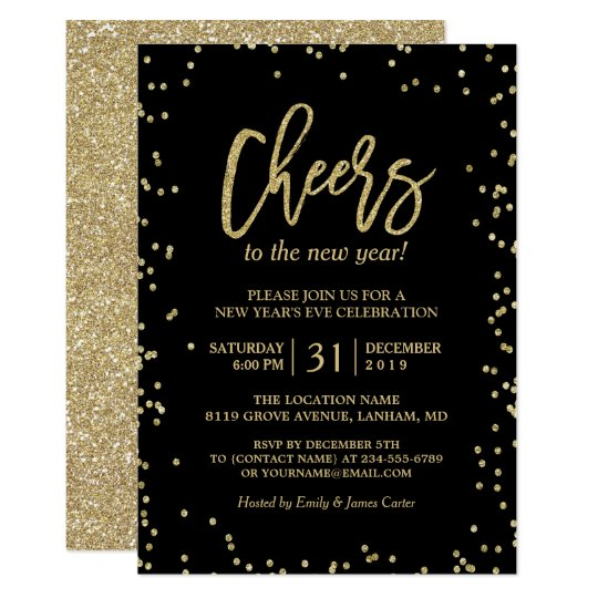 Trendy Gold Glitter Cheers New Year 39 S Eve Party Card