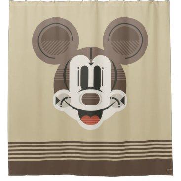 Trendy Mickey | Stylized Stripes Retro Head Shower Curtain