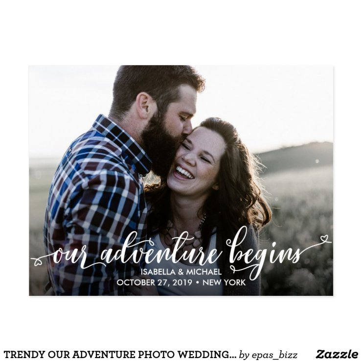 TRENDY OUR ADVENTURE PHOTO WEDDING SAVE THE DATE POSTCARD