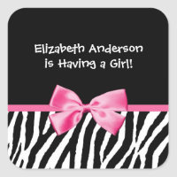 Trendy Pink And Black Zebra Print Girl Baby Shower Square Sticker
