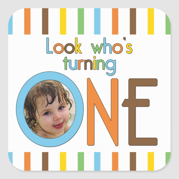 Trendy Stripes Look Whos Turning One Square Sticker