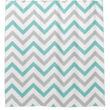 Trendy Teal Blue, Grey and White Chevron Pattern Shower Curtain