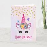 ❤️ Trendy Unicorn with Flowers Butterflies & Confetti Card