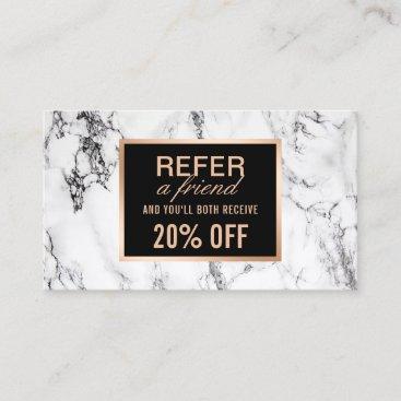 Trendy White Marble Beauty Salon Referral