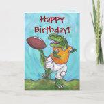 TRex Dino Football Star Happy Birthday Card