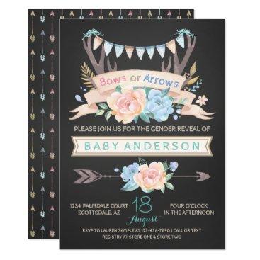 Tribal Antler Chalk Gender Reveal Invitations