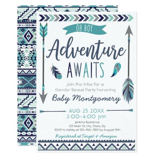 Tribal Arrows Adventure Boy Baby Shower Invitation