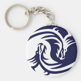 Tribal Dragons Yin Yang (Customizable) Keychain