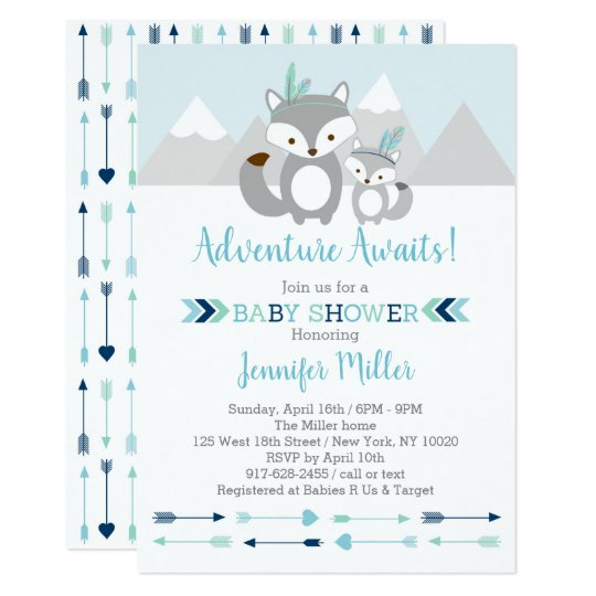 Tribal Fox Adventure Baby Shower Invitation