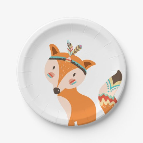 Tribal Fox Paper Plates Wild one Woodland Boho