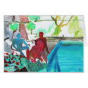 Trio Lounging By Pool greeting card card