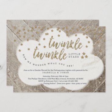 Triplets Twinkle Twinkle Little Star Gender Reveal Invitation