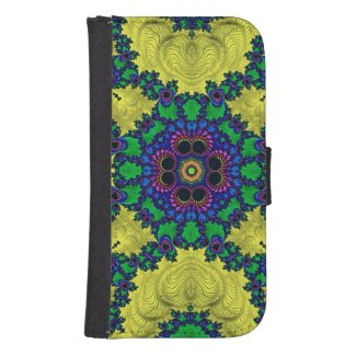 Trippy pink,blue,black Fractal Galaxy4 Wallet Case