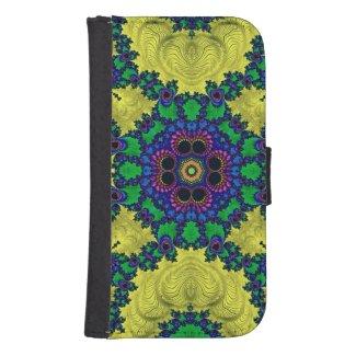 Trippy pink,blue,black Fractal Galaxy4 Wallet Case