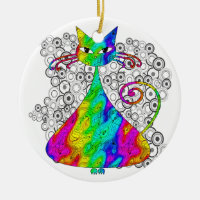 Trippy Psychedelic Cat Ornament