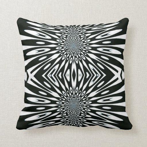 Trippy Vision Black White Optical Pattern Cushion