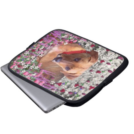 Trista the Rescue Dog in Flowers Laptop Sleeve