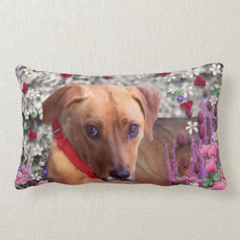 Trista the Rescue Dog in Flowers Lumbar Pillow