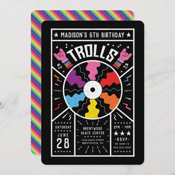 trolls world tour record birthday invitation zazzle com