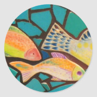 Tropical Fish Mosaic Classic Round Sticker