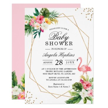 Tropical Floral Gold Glitters Flamingo Baby Shower Card
