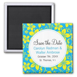 Tropical Flowers Save the Date Magnet magnet