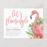 ❤️ Tropical Foliage Flamingo Let's Flamingle Birthday Invitation Postcard