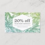 Tropical Green/Aqua Glitter Palms Discount Card