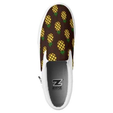 Tropical Hawaiian Pineapple Stencil Slip-On Sneakers
