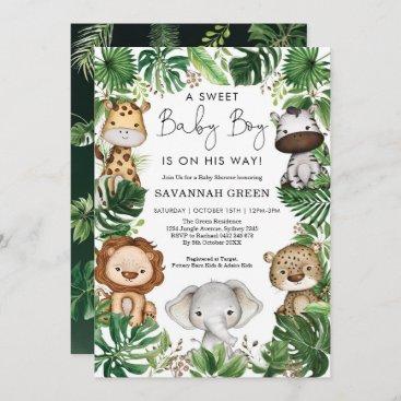 Tropical Jungle Safari Animals Boy Baby Shower Invitation