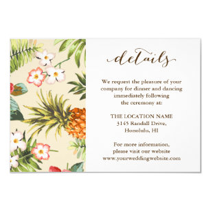 Tropical Leaves Pinele Hawaiian Wedding Details Invitation