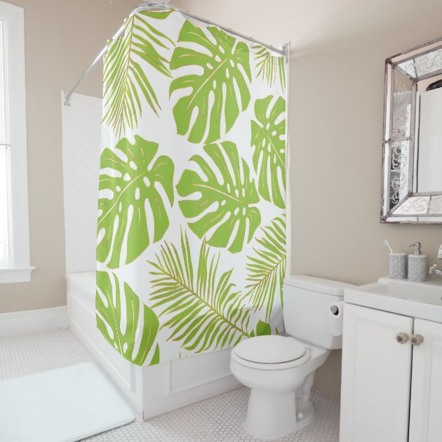 tropical lime green gold monstera and palm leaves shower curtain zazzle com