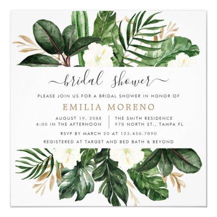 Tropical Modern Palm Cactus White Floral Bridal Invitation