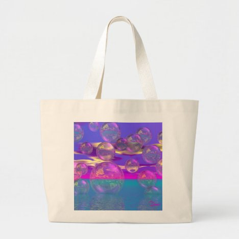 Tropical Morning – Magenta and Turquoise Paradise Large Tote Bag