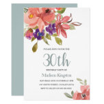 Tropical Peach Flowers 30th Birthday Party Invite